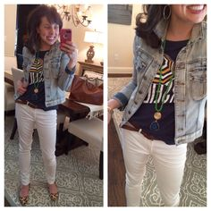 OUTFIT FORMULAS! My white jeans (from Target!), leopard flats, graphic tee, MUST HAVE denim jacket, and a great pendant necklace (there's a 15% OFF code on the post for the pendant necklace!)!!!