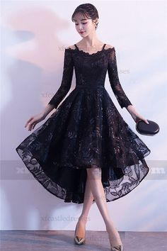 Black Sequin High Low Prom Dress with Sleeves - Faldas y vestidos High Low Evening Dresses, Evening Dresses With Sleeves, Black Dress With Sleeves, Lace Dress Black, High Low Dresses, Elegant Dresses, Pretty Dresses, Beautiful Dresses, Vestidos Retro