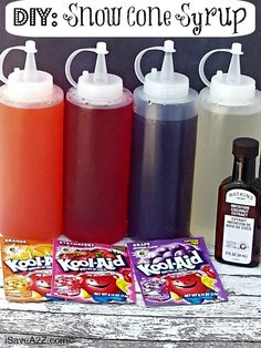 DIY your own snow cone syrup using packets of Kool-Aid. DIY your own snow cone syrup using packets of Kool-Aid. The post DIY your own snow cone syrup using packets of Kool-Aid. appeared first on Pink Unicorn. Frozen Desserts, Frozen Treats, Frozen Drinks, Gelato, Salsa Dulce, Sno Cones, Summer Treats, Summer Recipes, Kids Meals