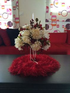 Red  White flowers,hand made red cloth...