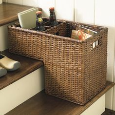 Ballard Designs always has great products.  I need this basket to make sure the kids take their junk back upstairs that they leave lying around!
