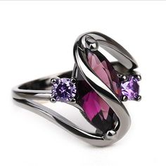 Jewelry Black Gold Cheap engagement wedding ring, Buy Quality gold ring directly from China wedding rings for women Suppliers: Trendy Pink Engagement Wedding Rings For Women Horse Eye Cz Black Gold Rings Party Jewelry Bague Femme Anillos Purple Engagement Rings, Engagement Jewelry, Wedding Engagement, Purple Rings, Purple Jewelry, Silver Rings, Silver Jewelry, Ruby Rings, Color Ring