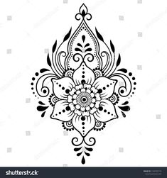 Mehndi flower pattern for Henna drawing and tattoo. Decoration in ethnic oriental, Indian style. Mehndi flower pattern for Henna drawing and tattoo. Decoration in ethnic oriental, Indian style. Paisley Tattoo Design, All Mehndi Design, Paisley Tattoos, Simple Mehndi Designs, Mehndi Designs For Hands, Tattoo Henna, Henna Tattoo Designs, Henna Art, Lotus Henna