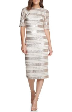 Free shipping and returns on Vince Camuto Sequin Stripe Midi Dress at Nordstrom.com. Striped with shimmering sequins, this stunning midi dress furthers its fresh, statement-making look with gauzy elbow-length sleeves. Vince Camuto Dress, Striped Midi Dress, Nordstrom Dresses, Bodycon Dress, Sequins, Dresses For Work, Clothes For Women, Sleeves, Fresh