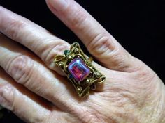 VTG-1950's-60's-NEW/Old Stock Antique Bronze Victorian Revival Siam Red Ring in Jewelry & Watches, Vintage & Antique Jewelry, Costume, Designer, Signed, Rings | eBay