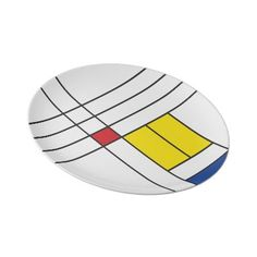Mondrian Minimalist De Stijl Art Composition Plate