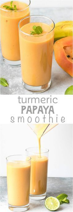 Creamy, Healing, Clean Turmeric Papaya Smoothie - an amazing combination of flavors makes this healthy drink super delicious. #smoothie #turmeric