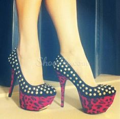 #Fashionbale #Black #Suede #Leopard Grain #Platfrom High Heel #Shoes