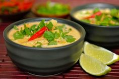 Tom Kha Gai (Thai Coconut Milk Soup) This is one of my favorites. Coconut Recipes, Healthy Recipes, Chicken Coconut Soup, Thai Chicken, Thai Coconut Milk, Tom Kha Kai, Asian Recipes, Ethnic Recipes, Soup And Salad