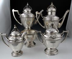 Wood and Hughes Medallion coin silver tea and coffe set