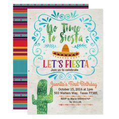 No Time to Siesta Birthday Invitation Blue - birthday cards invitations party diy personalize customize celebration