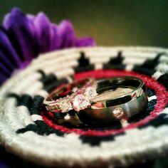 Wedding Rings in a minature Navajo Wedding Basket