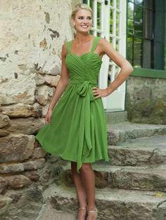 short prom dresses A-line Straps Knee-length Chiffon Homedress/Short Prom #MK079
