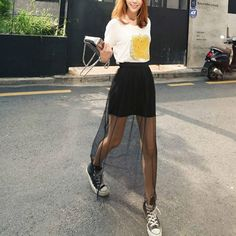 Summer Long Skirt 2017 New Fashion Women Mesh Voile Casual Skirts High Waist Sexy Transparent Maxi Skirt Bohemian Princess . Long Black Skirt Outfit, Lace Skirt Outfits, Long Lace Skirt, Black Lace Skirt, Long Skirts, Casual Skirts, Looks Vintage, Women's Summer Fashion, Vintage Skirt