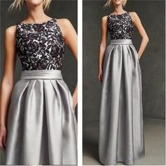 Long Custom Gray Sleeveless Simple Black Lace Unique Style Ball Gown Prom Dresses Online,PD0121