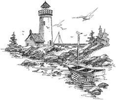 Impression Obsession Cling Mounted Rubber Stamp - Northern Lighthouse-Measures approximately 4 X 3 Lighthouse Drawing, Lighthouse Art, Wood Burning Stencils, Wood Burning Patterns, Landscape Pencil Drawings, Tinta China, Impression Obsession, Pattern Pictures, Drawing Projects