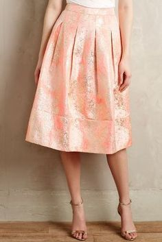 Champagne & Strawberry Blushing Blooms Midi Skirt #anthroregistry