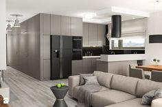 Projekt wnętrz mieszkania - Mały salon z kuchnią z jadalnią, styl nowoczesny - zdjęcie od ARCHISSIMA