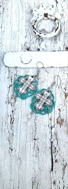 Turquoise Patina Cross Earrings TurQuoise by SecretStashBoutique