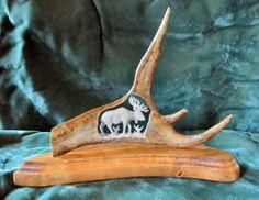 Antler Carving  Wandering Bull Moose by WoodNAntlerArt on Etsy, $225.00