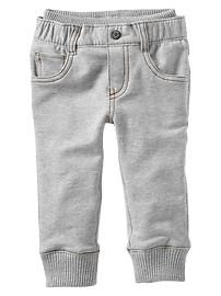 "Knit-waist French terry pants The absolute best ""baby jean"" there is. I wish they made it in a matching mommy size :) Baby Girl Pants, Baby Jeans, Boys Pants, Baby Boy Outfits, Kids Outfits, Toddler Boy Fashion, Toddler Boys, Kids Fashion, Cute Babies"