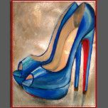 Louboutin Red Bottom High Heels Blue Peep Toe Pump