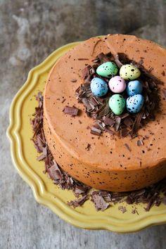 Speckled Egg Chocolate Fudge Cake for Spring and Easter celebration