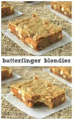 Chunks of butterfingers and white chocolate in sweet buttery blondies. Cookie Desserts, Easy Desserts, Delicious Desserts, Yummy Food, Homemade Desserts, Tasty, Brownie Recipes, Cookie Recipes, Dessert Recipes