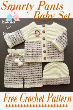 Crochet Smarty Pants Baby Pattern - The perfect shower gift, made in light worsted (DK) yarn. Crochet this sweet set in in solid colors or contrasting shades, it will look beautiful either way. Crochet Baby Sweaters, Crochet Baby Clothes, Crochet Baby Shoes, Crochet Baby Cardigan Free Pattern, Crochet Dolls Free Patterns, Crochet Stitches Patterns, Baby Patterns, Crochet Bebe, Crochet For Boys