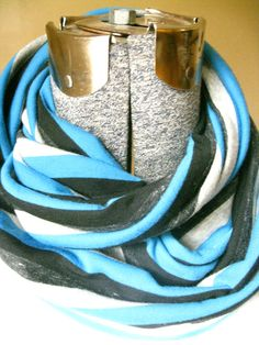 Blue, Black Gray Stripes Infinity Scarf-  FREE SHIPPING, scarf,  knit, circle scarf, winter, fall Christmas #etsy  #etsyretwt
