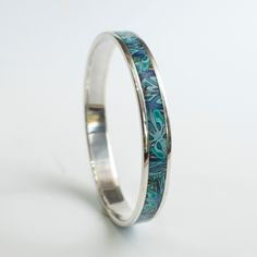 Sterling silver and polymer bangle
