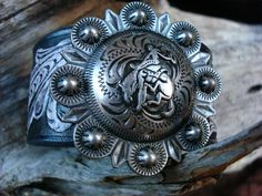 Black and white embossed Leather cuff featuring by dirtynameranch, $28.00