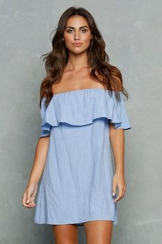 Casual Denim Colored Boat Dress - This cute dress is a great accessory to any wardrobe. It is a great benchmark item that can be worn with anything!