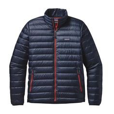 Patagonia Men\'s Down Sweater Jacket - Navy Blue w\/Ramble Red NBRR