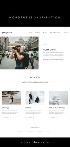 A modern about page from Photographer, a ready-made site based on Pepper+ WordPress theme for photography and creative businesses Web Design Tips, Web Design Inspiration, Small Business Web Design, Free Ecommerce, Wordpress Website Design, Photographer Portfolio, Web Layout, Photography Website, Best Wordpress Themes