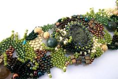 Freeform peyote beaded cuff bracelet, with green, brown, creame beads, winter fashion, ooak,