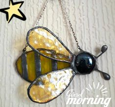 This sweet little copperfoiled little Bumble Bee measures 3-1/2 by 2- 1/2 comes with a chain for hanging makes a perfect little gift. Comes all gift wrapped so you dont have to worry about wrapping it.