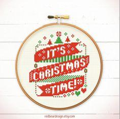 Christmas cross stitch pattern - Its Christmas Time !    Modern xmas cross stitch pattern for your christmas project , HOHOHO ~ now is the prefect