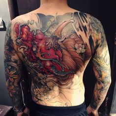 諦听- China mythology creature. Back piece in progress. #xiaopeng #shanghai #tattoo #fusion_ink @asiatattoosupply