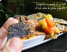 Craquelins Lavash  sans gluten sucrés avec pavot, miel & salsa aux pêches