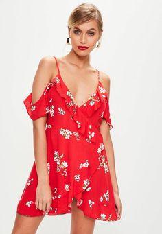 Red Cold Shoulder Tea Dress
