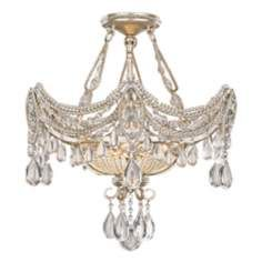 """Silver and Gold Foil 18"""" Wide Ceiling Light Fixture Lamps Plus"""