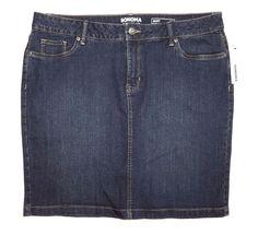 NWT Sonoma Goods For Life Women's Denim Medium Wash Skirt Size16 RP:$36 #Sonoma #CasualSkirt