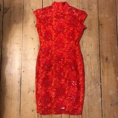 e193c2432d6 Vintage 90s red cheongsam sequin cherry blossom Chinese dress pinup wiggle  10 12