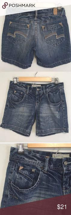 """Women's Maurices Denim Shorts thick tan Stitching Excellent condition: waist: 15"""" length: 6"""" Maurices Shorts"""