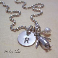 Personalized Petite Penguin Charm Necklace - Hand Stamped Sterling Silver Jewelry - Monogrammed Initial and Birthstone