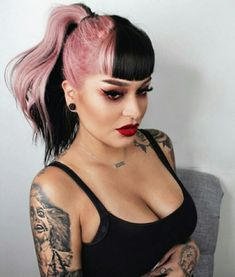 30 Picture-Perfect Styles For Pastel Pink Hair 25 – cabelo Hair Color Dark, Cool Hair Color, Under Colour Hair, Colour Melt Hair, 2 Tone Hair Color, Unique Hair Color, Melt Cosmetics, Split Dyed Hair, Half Dyed Hair