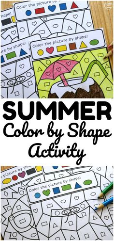Help early learners practice shape recognition with this fun Summer Color by Shape Activity! Father's Day Activities, Summer Activities For Kids, Crafts For Kids, Teaching Shapes, Teaching Tools, Teaching Resources, Summer Colors, Summer Fun, Summer Coloring Pages