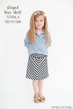 striped bias skirt tutorial and free pattern sz 5 Sewing Patterns For Kids, Sewing For Kids, Clothing Patterns, Sewing Ideas, Toddler Outfits, Kids Outfits, Sewing Kids Clothes, Skirt Tutorial, Sewing Tutorials