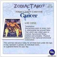 Zodiac Tarot for December 28: Cancer <br>  http://ifate.com